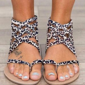 Leopard Print Crisscrossed Nude Thong Sand…